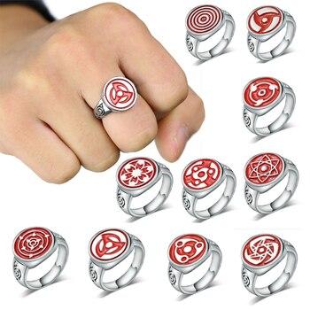 0c1b8a48a859 Caliente Anime Naruto anillo Sharingan patrón Cosplay joyería para Mujeres  Hombres traje anillos plata Metal Sasuke Itachi Kakashi anillo regalo