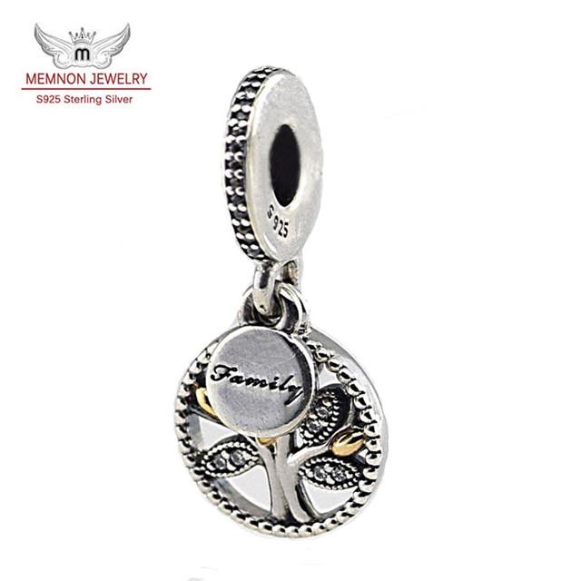 925-sterling-silver family tree encantos flotantes joyería de plata con oro pulsera apta del encanto collar de perlas colgante de DIy MN744