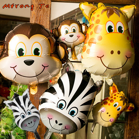 6pcs/lot animal Head Foil Balloon safari themed party Giraffe&monkey&zebra creative Animal birthday party decoration kids toys