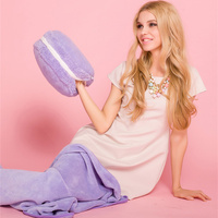 High Quality Macaron Hand Warmer 2 in 1 Cushion Blanket Colorful Soft Round Cake Pillow Multifunction Pillow Blanket