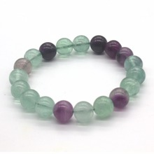 Kraft-beads Attractive Popular Natural Fluorite Stone Round Beads Elastic Bracelets For Female Gift Fortunate Jewelry
