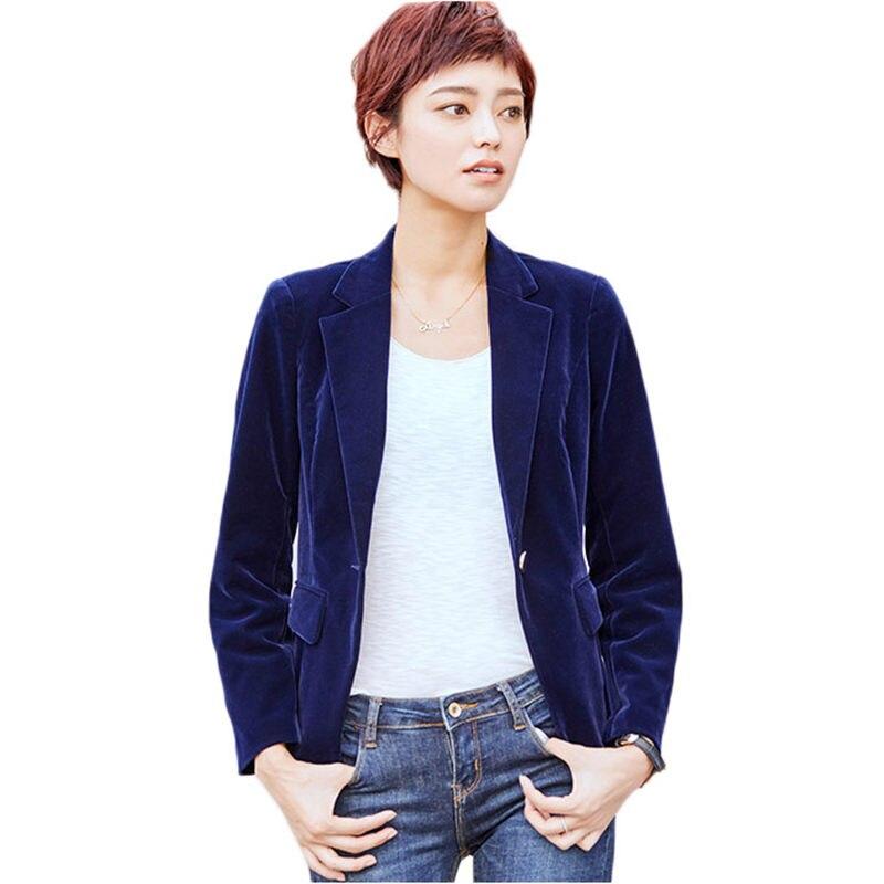 2019 New Professional Slim Korean Suit Jacket Gold Velvet Lapel Single Buckle Formal Business Blazer Feminino Casual Coat F909