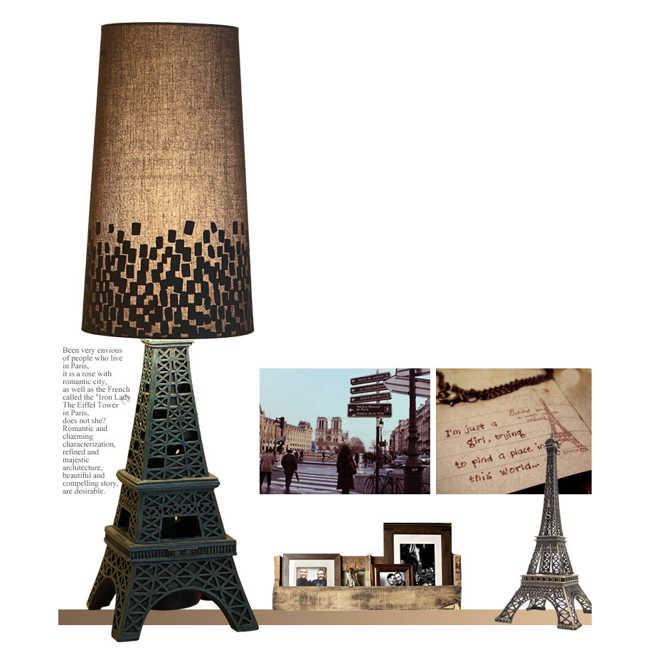 Creative Hollow out Eiffel Tower Bedroom bedside Table light Modern Study Room Black Metal Base Living Room Office Desk Light