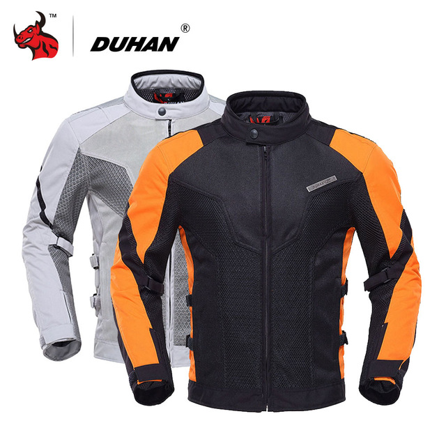 DUHAN Men's Motorcycle Jacket Breathable Motocross Clothing Gray Moto Jacket Blouson Moto With Five Protector Gray And Orange top good motorcycles mesh fabric jacket summer wear breathable hard protective overalls motorcycle clothing wy f607 green