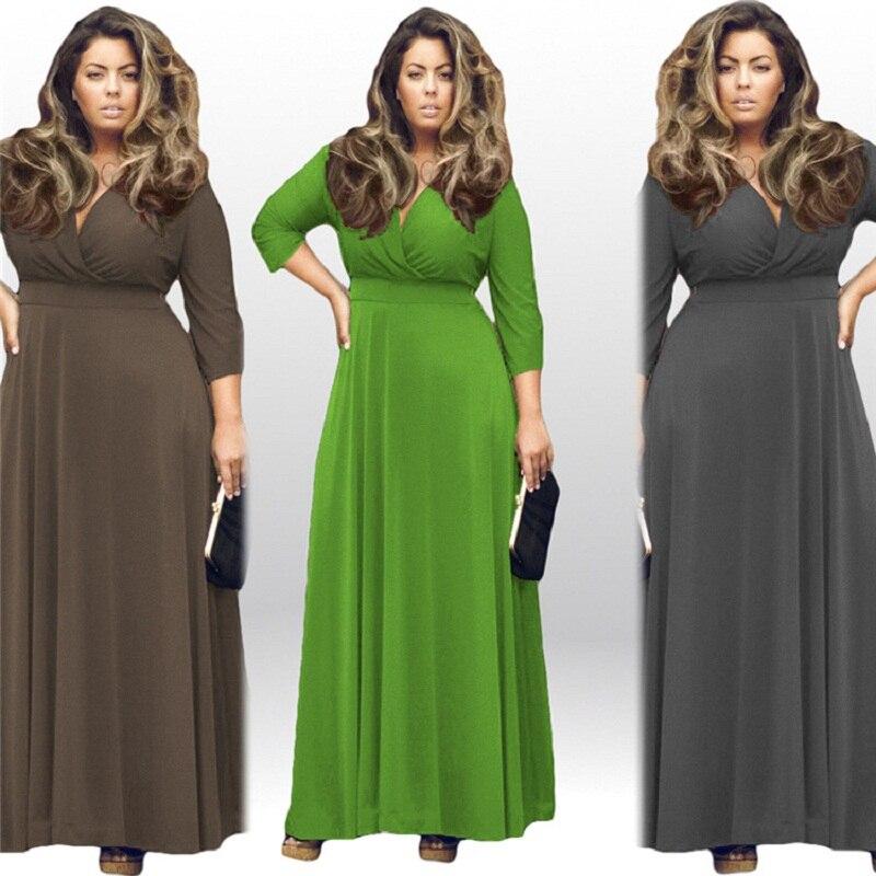 High Quality Robe Summer 2019 Women Vintage Dress Sexy V-neck Maxi Dress Big Swing Elegant Party Dress Plus Size Women Clothing(China)