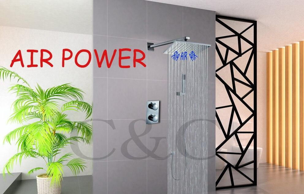 Technologie de puissance aérienne! Robinet de douche de pluie de salle de bains avec la Valve thermostatique pomme de douche de pluie carrée de 10 pouces