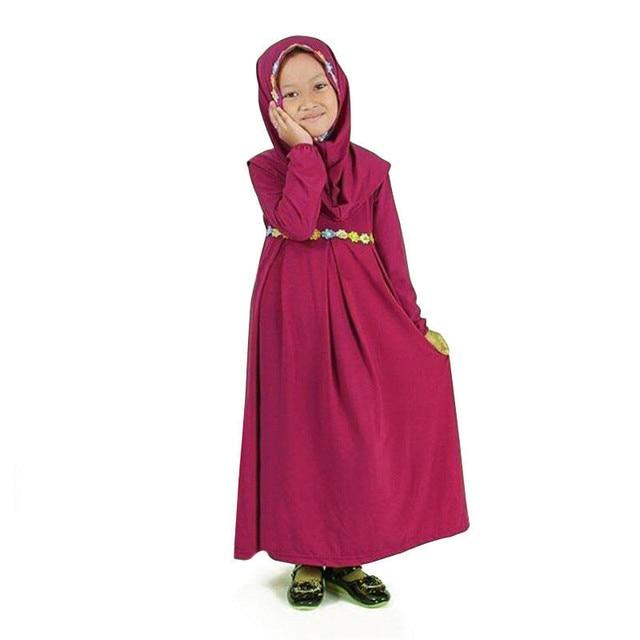 9384835616d61 Toddler Kids Girl Dress Muslim Hijab Islamic Abaya Kaftan+Bown Arab Maxi Dress  Long Sleeve