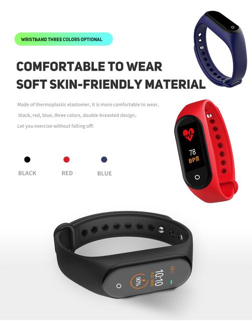 Smart watch mężczyźni M4 bransoletka fitness Bluetooth wodoodporny Monitor pracy serca kobiet smart watch smartwatch fitness z nadajnikiem tanie i dobre opinie DOOLNNG (w) Brak 128 MB Passometer Tracker fitness Uśpienia tracker Nastrój tracker Wiadomość przypomnienie Przypomnienie połączeń