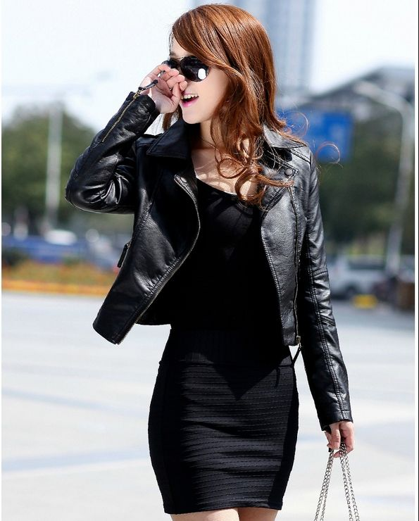2017 New Spring Women   Leather   Jacket Red Black PU Plus Size Jackets
