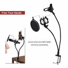 microphone holder for Live Show Recording MV Stand Noise Cancelling Mic & Phone Holder