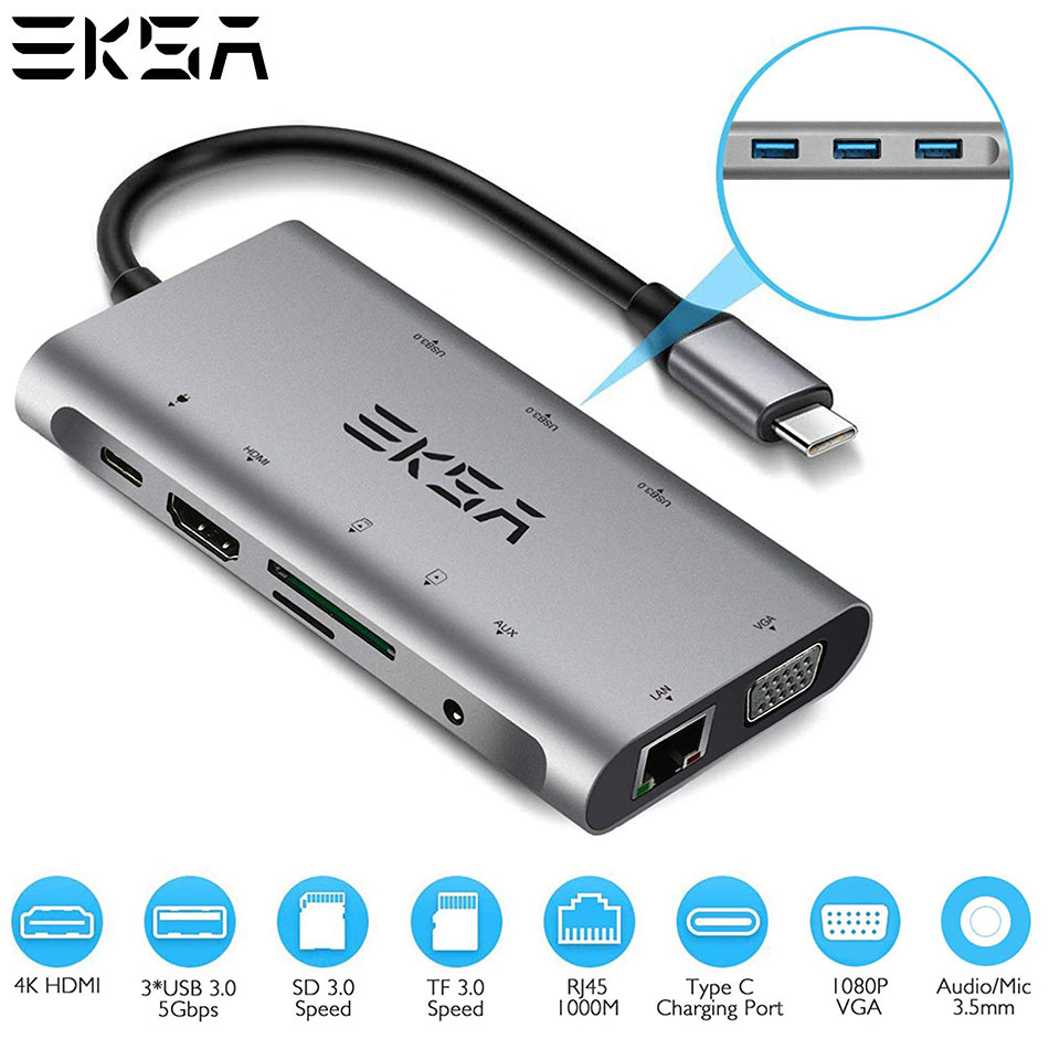 Moyeu USB multifonction EKSA 10 en 1 Type moyeu C 3.0 avec adaptateur secteur HDMI RJ45 VGA Thunderbolt 3 pour Macbook Pro Samsung Galaxy