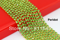 Free Shipping Sew On Crystal Rhinestone Cup Chain Sparse Claw SS6 SS8 SS10 SS12 SS16 Peridot