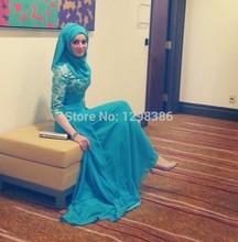 2016 Muslim Evening Dresses A-line Half Sleeves Blue Chfifon Hijab Islamic Dubai Abaya Kaftan Long Evening Gown Prom Dress