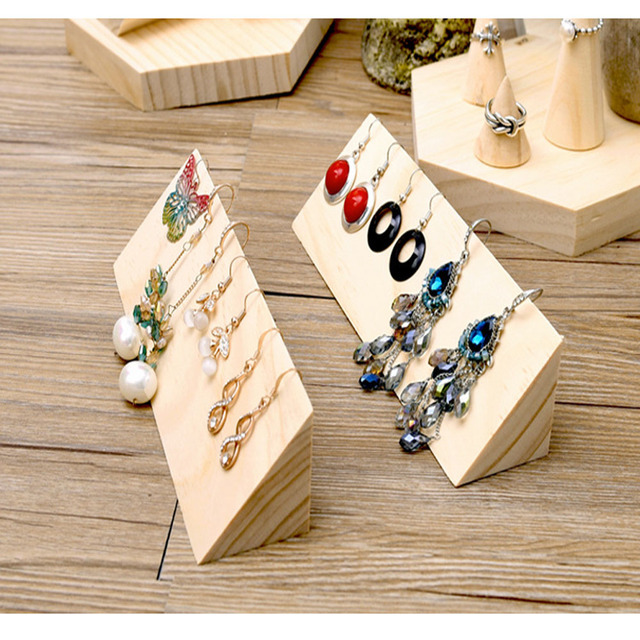 Triangle Plain Wooden Hook Dangle Earrings Jewelry Display Holder