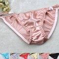 100% silk panties high fork solid color sexy silk panties breathable sweat absorbing low-waist bikini