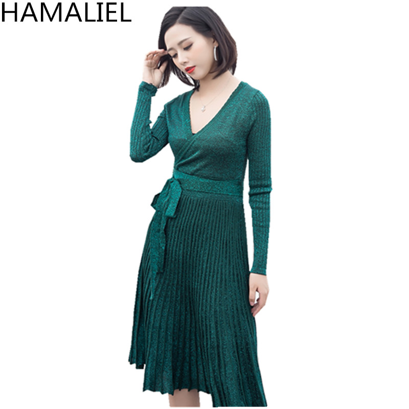 HAMALIEL 2018 Designer Autumn Winter Women Sweater Dress High Quality Silver Long Sleeve V Neck Knitting Pelated Party Dress