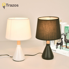 TRAZOS Art Decor Table Lamp With Fabric Lampshade Wooden Bedside Lamps Designer Hotel Reading Lighting Warm Bedroom Book Lamps цена в Москве и Питере
