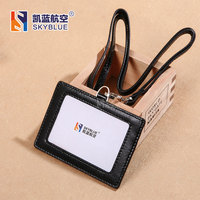 New ID Holder Genuine Leather Lambskin Sheepskin Multi Cards Black Case Card Badge Bag Fashion Simple