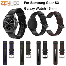 Leather Watchband for Samsung Gear S3 Galaxy Watch 46mm Quick Release Band Wrist Strap For Huawei Watch GT Woven Nylon Straps quick release silicone rubber watchband 22mm for samsung gear s3 r760 r770 galaxy watch 46mm r800 feather grain band wrist strap