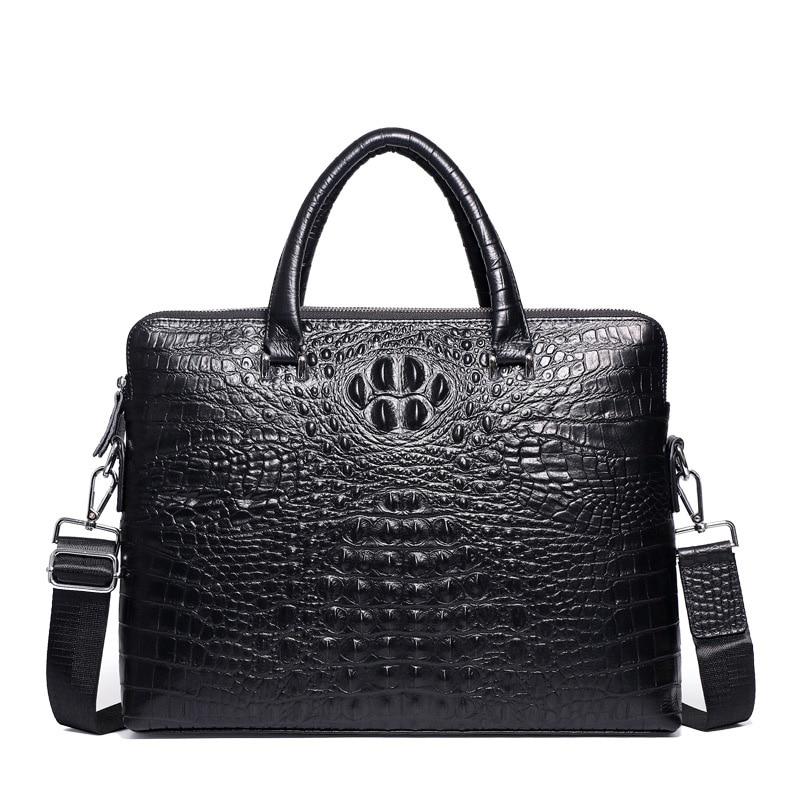 Double Zipper Mens Handbag Genuine Leather Crocodile Pattern Briefcase Men Shoulder Messenger Bag Cowhide Business Laptop