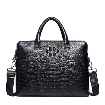 Double Zipper Mens Handbag Genuine Leather Crocodile Pattern Briefcase Men Shoulder Messenger Bag Cowhide Business Laptop Bag mshg hong kong crocodile leather men handbag leisure business briefcase cross section men bag
