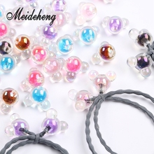 10PC 20mm Acrylic Transparent Colorful With Internal Bead Big Hole Rainbow Mice Head Beads For Jewelry Making Hair Accessory 30pc 31x28mm multi colorful acrylic flower beads big hole six petals frosted flowers beads for jewelry making garment accessory