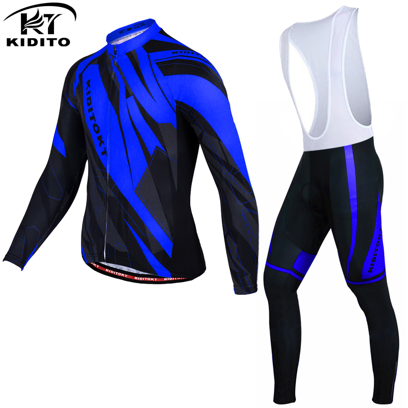 KIDITOKT Winter Thermal Fleece Cycling Jersey Set Maillot Ropa Ciclismo MTB Bicycle Wear Long Sleeve Bike Clothing  Cycling Set black thermal fleece cycling clothing winter fleece long adequate quality cycling jersey bicycle clothing cc5081