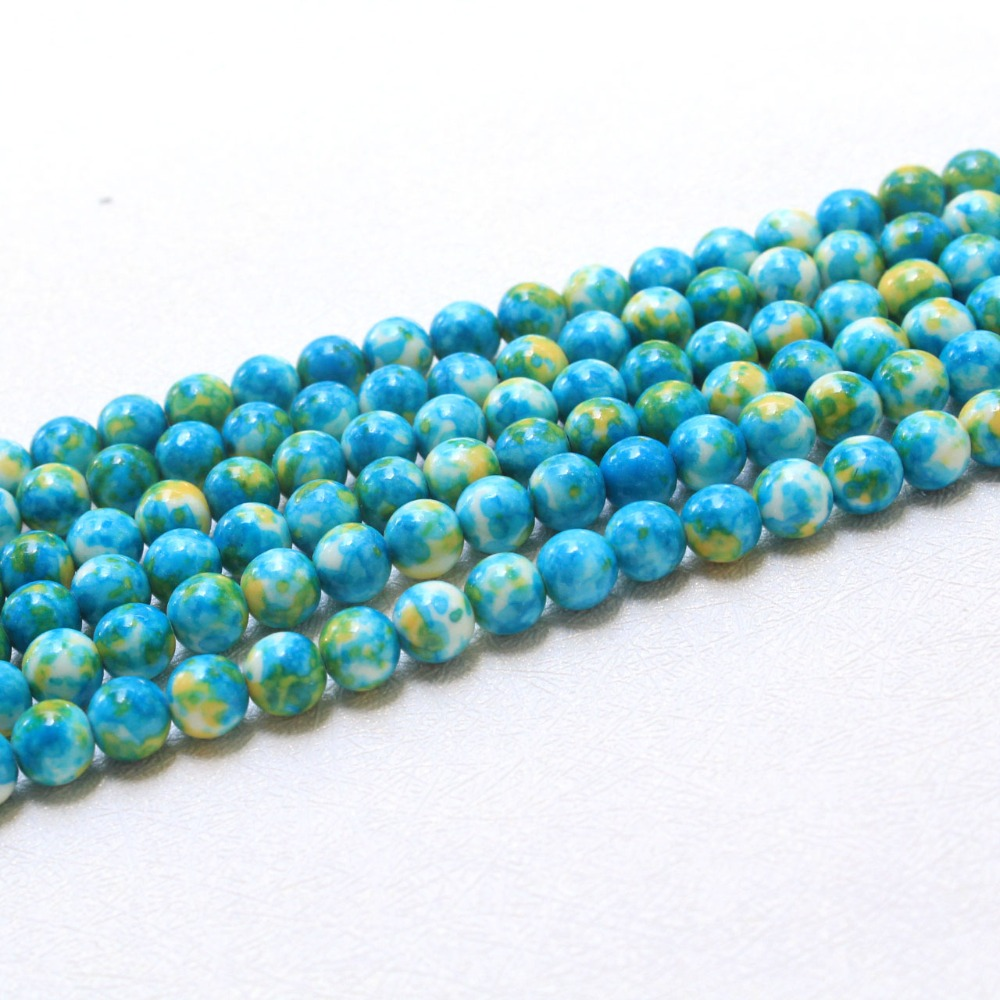 Beads & Jewelry Making Jewelry & Accessories Wholesale Rainstone Pattern Dye Blue Natural White Stone Beads For Jewelry Making Diy Bracelet Necklace 4/6/8/10/12 Mm 15 Less Expensive