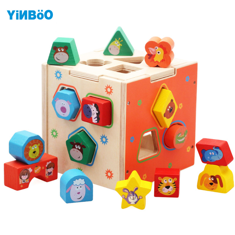 Baby Toys for Children Wooden Cube Classic Multi Shape Sorter Block for Kids Threading Early Educational Game Christmas Gift baby kids children wooden toys alphabet number building jigsaw puzzle snake shape funny digital puzlzle game educational toys