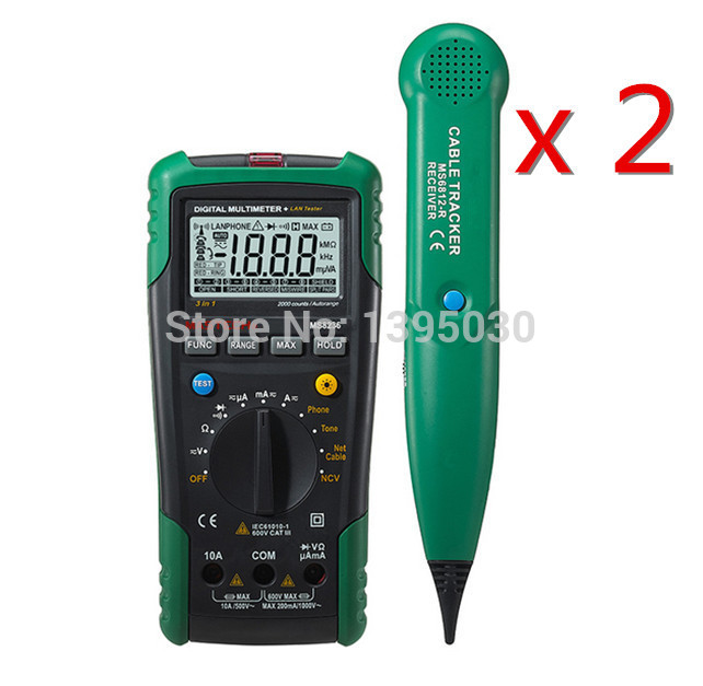 2PCS/Lot Digital MS8236 Network Multimeter & multifunctional Lan/Tone/Phone Cable Track Tester 1 pcs mastech ms8269 digital auto ranging multimeter dmm test capacitance frequency worldwide store