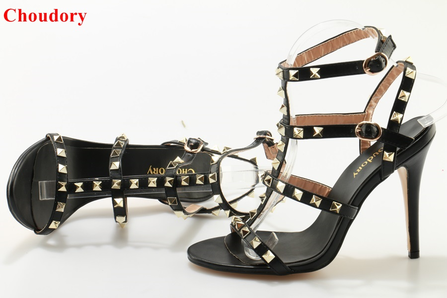 f221cbf13cc Chic Model Black Criss Cross Cage Sandals T-bar Strappy High Heel Pumps  Gold Studded Gladiator Sandal Shoes Dropship
