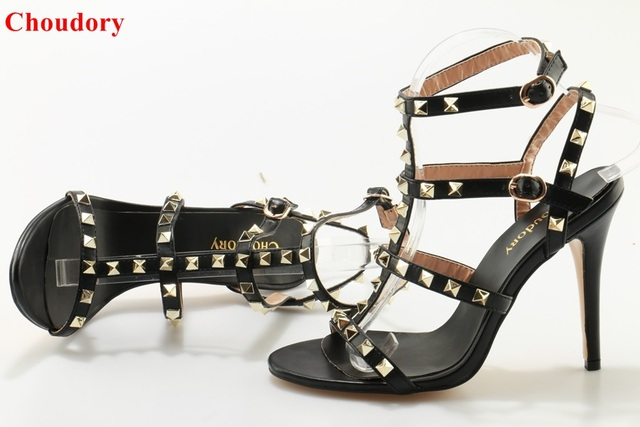 3e5e0aa98c6 Chic Model Black Criss Cross Cage Sandals T-bar Strappy High Heel Pumps Gold  Studded Gladiator Sandal Shoes Dropship