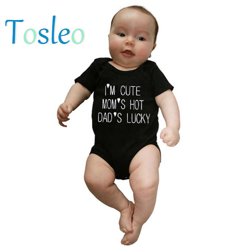 4d9644bd6 2018 Baby Clothes Funny Baby Bodysuit Letter Printed Children Costumes Baby  Onesie 3M-24M Black