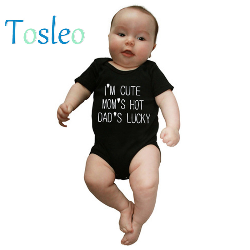 2018 Baby Clothes Funny Baby Bodysuit Letter Printed Children Costumes Baby Onesie 3M-24M Black Blue
