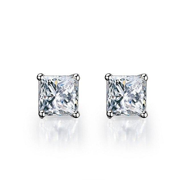 1CT Piece Princess Cut Earrings 925 Lovely Diamond Stud Earrings For Women Sterling Silver Jewelry 18K