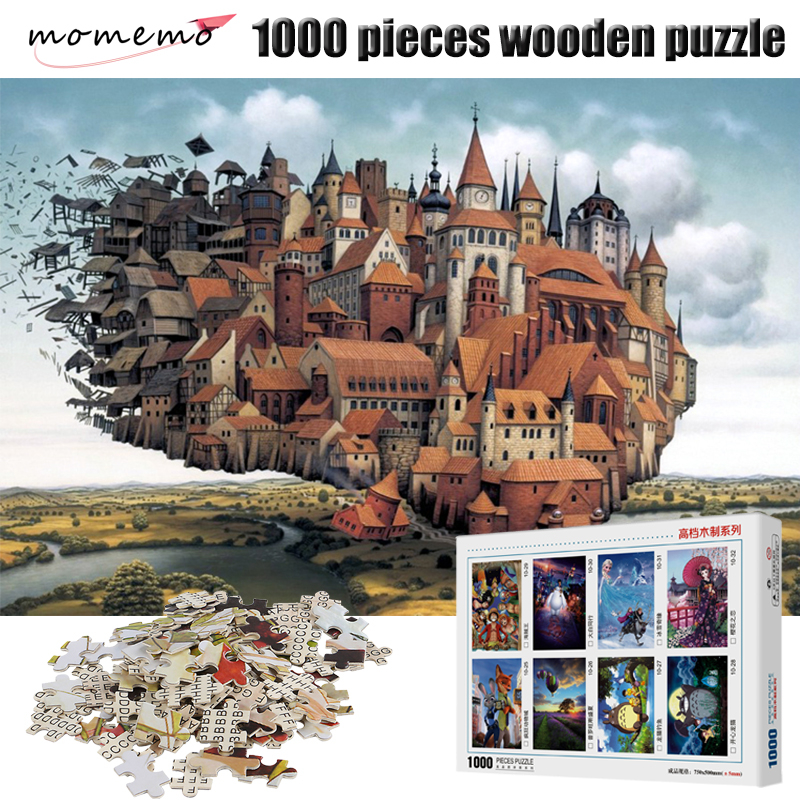 MOMEMO Flying Castle Puzzle 1000 Pieces Wooden Puzzle Fantasy Landscape Jigsaw Puzzles For Adult Assembling Toys Children Gifts
