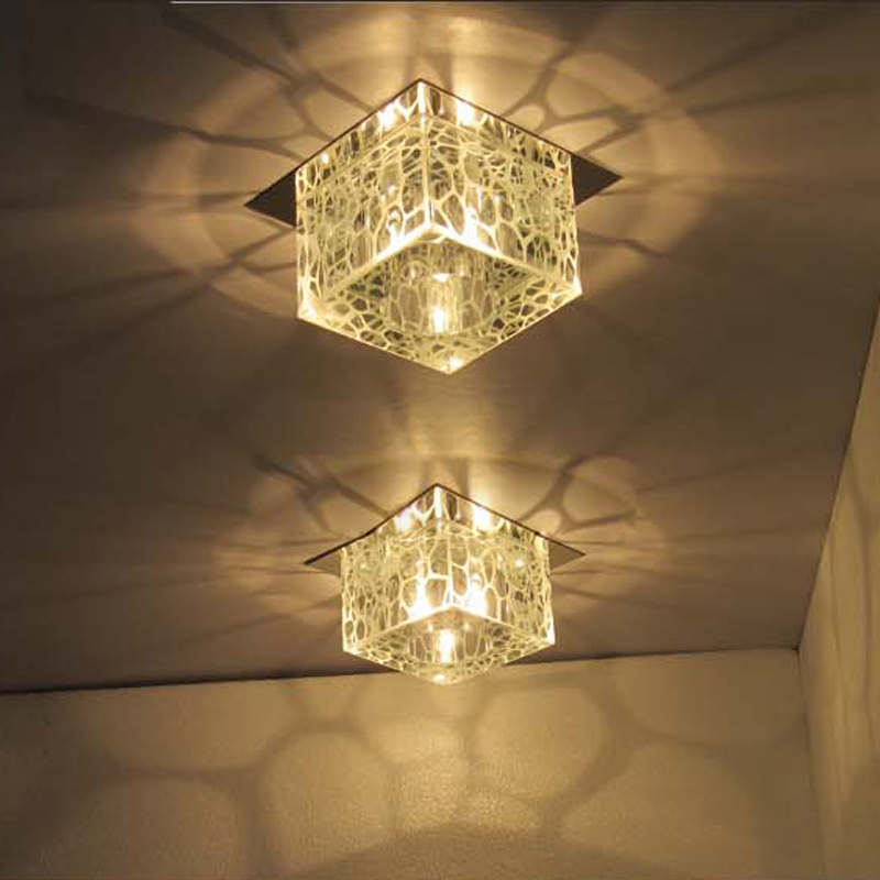 Modern 5 square water cube crystal ceiling lamps hallway for Balcony lights