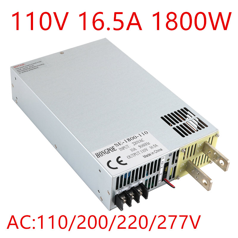 1PCS 1800W 0-110v power supply 110V 16A ac -dc 110V adjustable power AC-DC High-Power PSU 1800W AC110V 220V 277V INPUT 110v