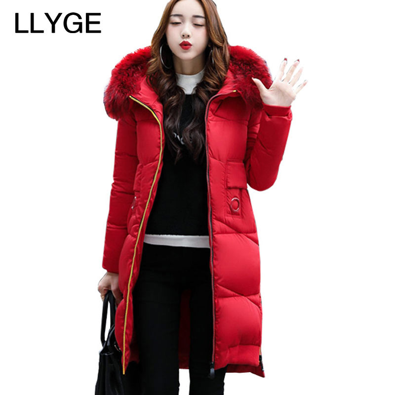 LLYGE Winter Jacket With Fur Collar Hooded Cotton Padded Mid-Long Puffer Coat Outwear Women Thick Warm Parka Jaqueta Feminina mcckle winter jacket with fur collar hooded cotton padded long puffer coat outwear women fashion thickening warm parka overcoat