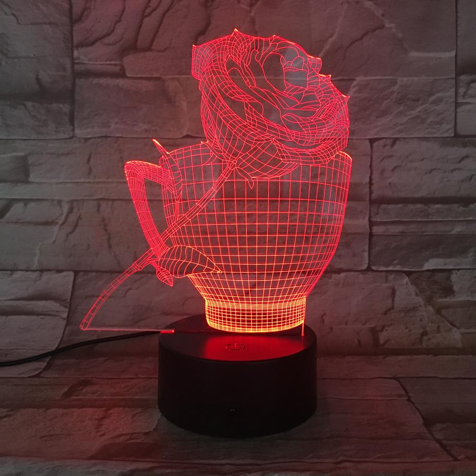 3D LED Lamp Flower Rose Cup bedside 7 Color Changing Lampara RGB Girl Child Kids Baby Birthday Gifts USB 3D LED Night Light Neon in LED Night Lights from Lights Lighting