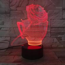 3D LED Lamp Flower Rose Cup bedside 7 Color Changing Lampara RGB Girl Child Kids Baby Birthday Gifts USB 3D LED Night Light Neon india taj mahal usb 3d led night light veilleuse lamp decoration rgb kids baby gift famous buildings table lamp bedside neon