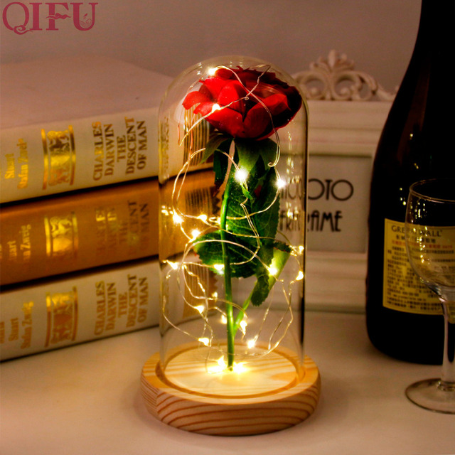 QIFU Valentines Day Led Red Rose Flower In Glass Happy Birthday Gift For Girlfriend Valentine