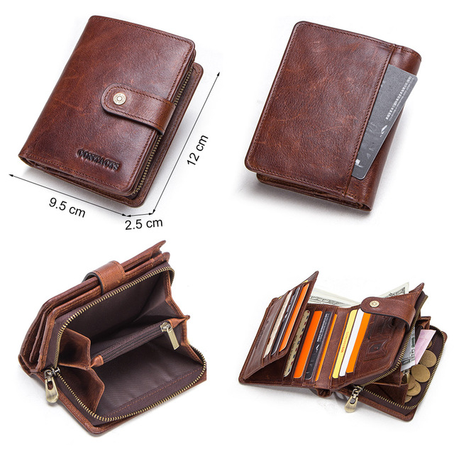 CONTACT'S genuine leather RFID vintage wallet men with coin pocket short wallets small zipper walet with card holders man purse 3