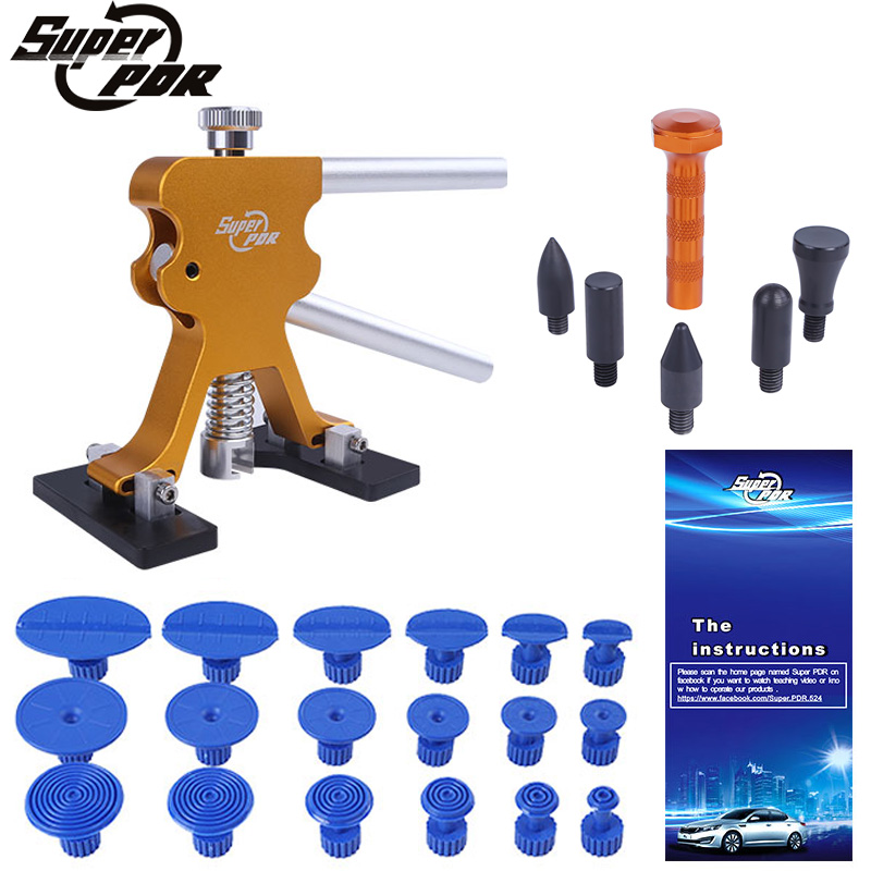 Super PDR Paintless Dent Repair Tools Kit Auto Glue Dent Puller Suction Cups Tap Down Pen Hand Tools Set Car Dent Removal ToolsSuper PDR Paintless Dent Repair Tools Kit Auto Glue Dent Puller Suction Cups Tap Down Pen Hand Tools Set Car Dent Removal Tools