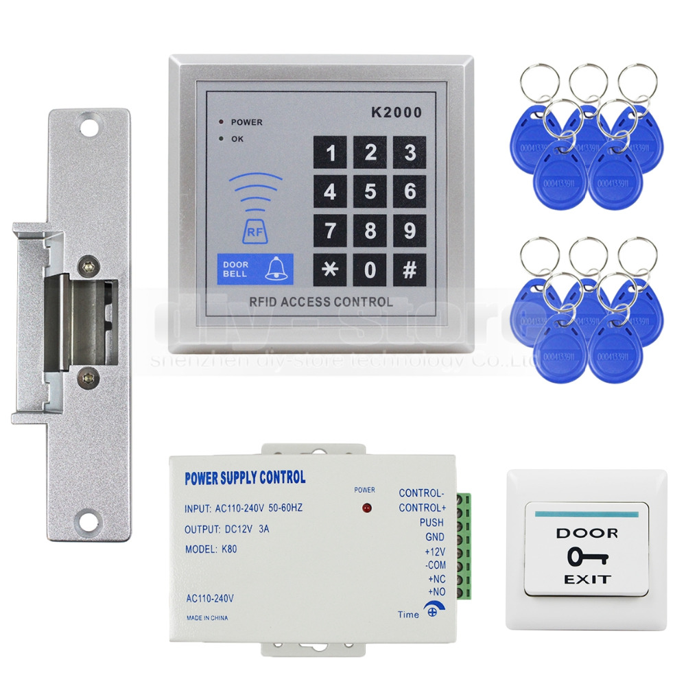 DIYSECUR 125KHz RFID Reader Access Control System Full Kit Set + Electric Strike Door Lock + Power Supply