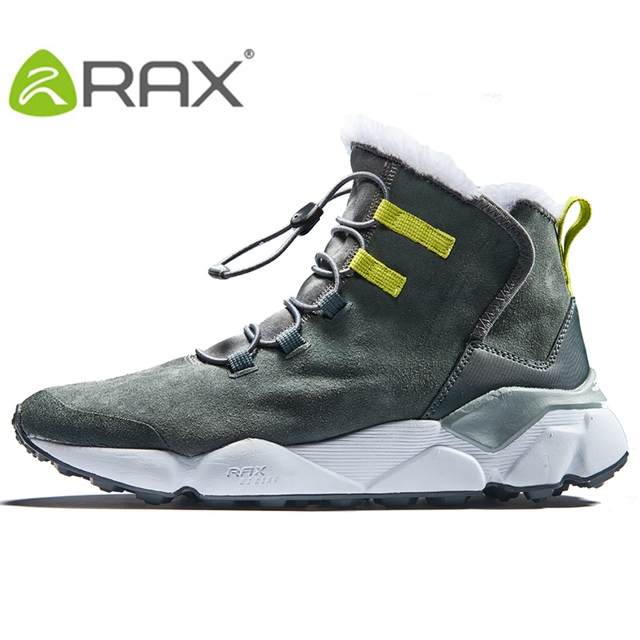 RAX 2018 Outdoor Hiking Shoes For Men Women Breathable Geunine Leather Snow Boots Walking Shoes Hiking Shoes Fleece Winter Boots