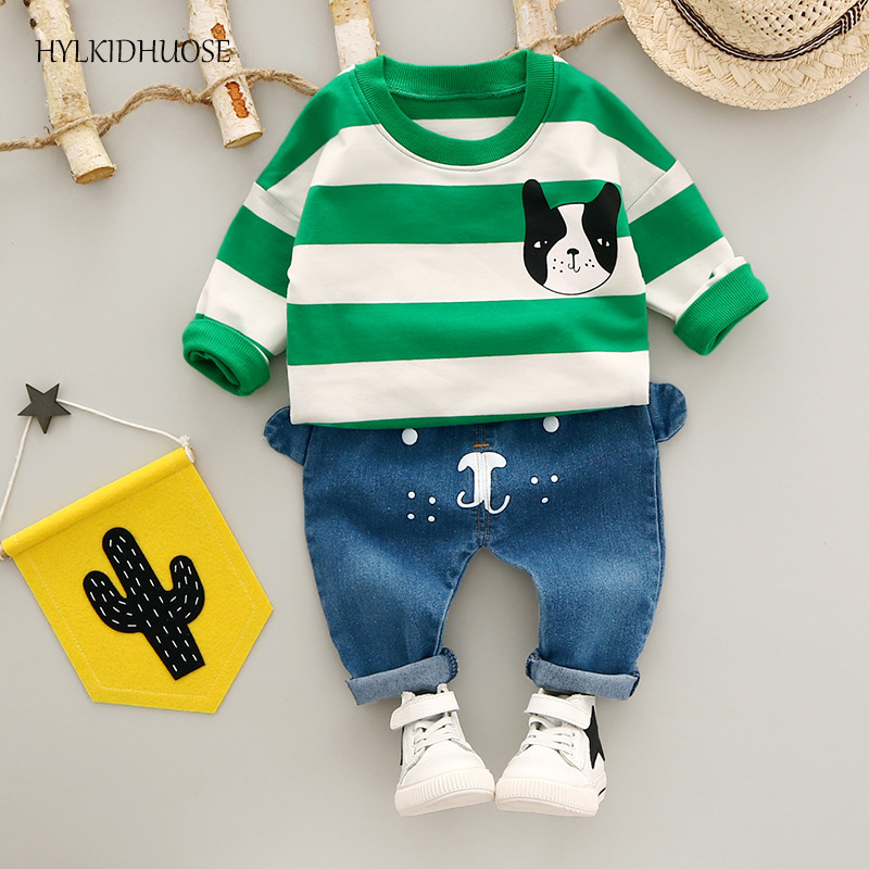 HYLKIDHUOSE 2017 Baby Girls Boys Autumn Clothes Sets Children Cotton Suits Stripe T Shirt+Jeans Cartoon Dog Infant Kids Suits 2pcs children outfit clothes kids baby girl off shoulder cotton ruffled sleeve tops striped t shirt blue denim jeans sunsuit set