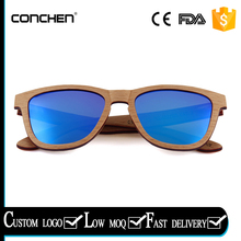 2017 fashional spring metal hinge zebra wood frames with blue REVO polarized lens wood sunglass leisure