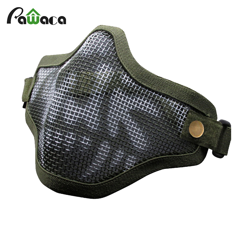Airsoft Paintball Resistant Military CS Army Games Half Face Mask Mental Mesh Mask Costume For Adult CS Party Cosplay