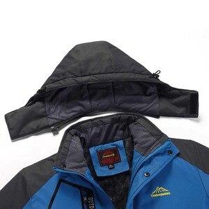 Image 5 - Мужская теплая зимняя парка, пальто больших размеров 6XL, 7X, 8XL, толстая бархатная водонепроницаемая ветрозащитная куртка с капюшоном, мужское флисовое пальто для туризма